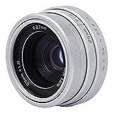 Oumij Obiettivo da 25mm F1.8 Mini CCTV C Mount Lente Obiettivo per Telecamera CCTV Obiettivo di Montaggio C 16 mm Obiettivo Grandangolare Ultra Compatto per Sony Nikon Canon DSLR Fotocamera(Argento)