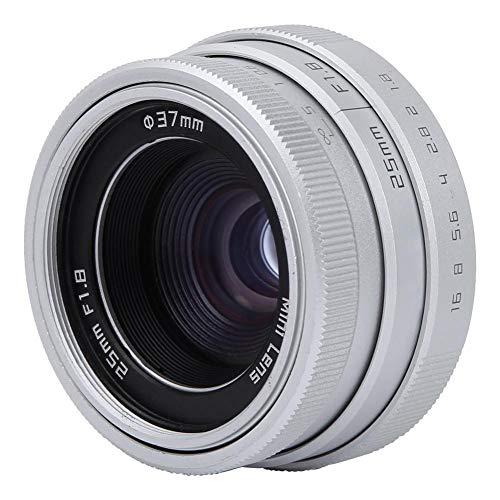 Oumij Lente de Montura CCTV C Mini F1.8 de 25 mm, Lente Gran Angular, Lente de Cámara CCTV, Lente de Montaje C 16 mm, para Sony Nikon Canon DSLR(Plata)