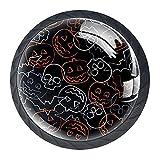 qfkj Tirador de la Perilla del cajón 4 Piezas El cajón del gabinete de Vidrio de Cristal Tira Las perillas del Armario,Calabazas Calabazas Calaveras Swatch Patrón Halloween