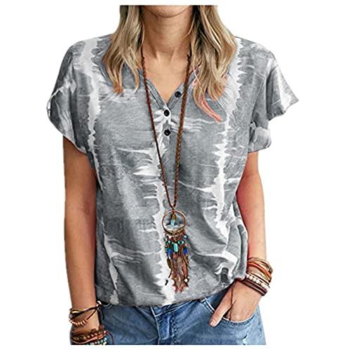 Wsgyj52hua 2021 SeñOras Europeas Y Americanas Verano Suelta Camiseta Estampada con Botones