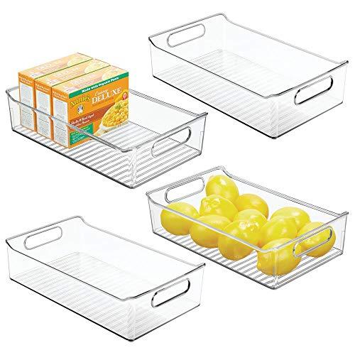 mDesign Juego de 4 fiambreras para el frigorífico – Cajas de plástico para guardar alimentos – Organizador de nevera para lácteos, frutas y otros alimentos – transparente