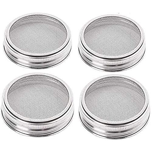4 Pack RVS sport glazen deksel Kit Great ventilatie brede mond potten potten voor het maken van,Silver