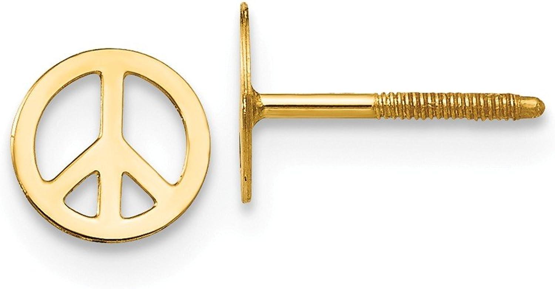 Beautiful Yellow gold 14K Yellowgold 14k Madi K Peace Sign Screwback Earrings