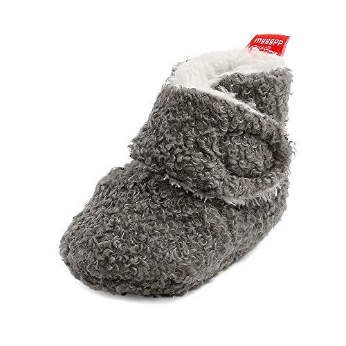 Matt Keely - Zapatillas de invierno para bebés y niños y niñas, antideslizantes, suela suave, con forro polar, color Gris, talla 12-18 meses