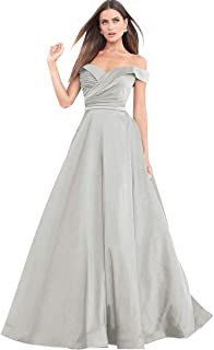 2f9324e17a8 Women s A Line Off The Shoulder Drapped Satin Prom Dress Long Formal  Evening Gown