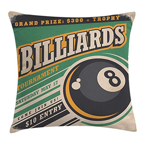 AAnshang Vintage Decor Throw Kissen Cover von, Werbung mit Billiard-Balls Form Grand Prize Quote Hobby Game Play Sports, Dekorative Square Accent Kissen Case, 24 X 24 Zoll, Multi