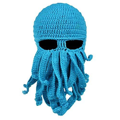 DELIBEST Bartmütze, Strickmütze, Wintermütze, Warm, Oktopus, Winddicht, lustig für Männer und Frauen, hellblau