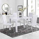 GOLDFAN Esstisch mit 4 Stühlen Rechteckiger Esstisch aus Holz Moderner Küchentisch Esszimmerstuhl...
