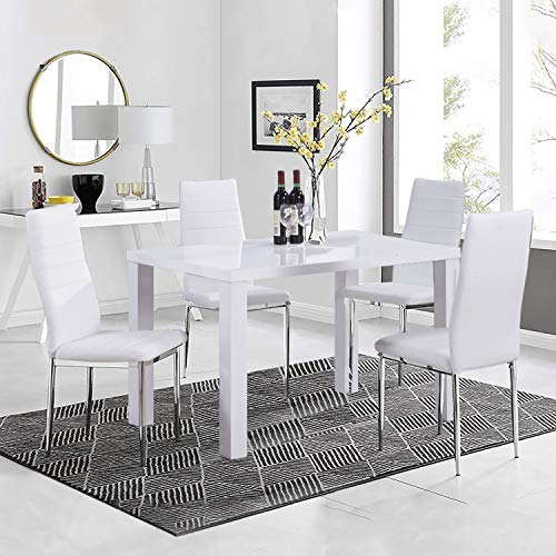 GOLDFAN High Gloss Dining Table and Chairs Set 4 People PU Leather Seats Morden Kitchen Table Dining Room Set,White