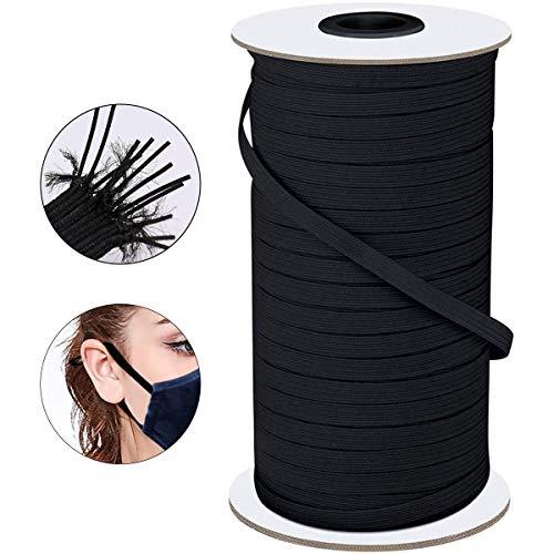 Elastic String for Masks,1/8 Inch 200 Yard Black Super Soft Ear Band Loop,High Wovem Elastic,Knitted Elastic Cord for Crafts DIY Masks Sewing,Handmade String Tie Rope ,Spool Roll, Stretch