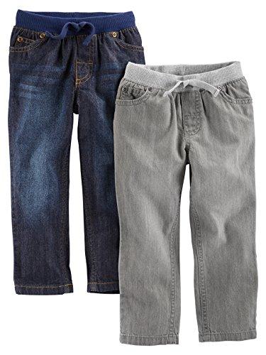 Simple Joys by Carter's Baby Boys' Toddler 2-Pack Pull on Denim Pant, Gray Denim, Blue Denim, 2T