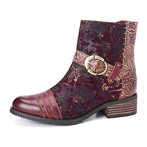 Gracosy Bottines Cuir Femmes Plates, Chaussures de...