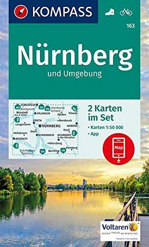 KOMPASS Wanderkarte Nürnberg und Umgebung: 2 Wanderkarten 1:50000 im Set inklusive Karte zur offline Verwendung in der KOMPASS-App. Fahrradfahren.