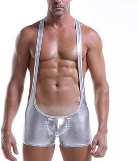 Men Bodysuit Suspenders Underwear Faux Leather Solid Color Sexy Wrestling Singlet