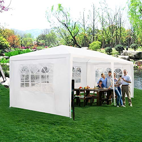 Tangkula 10'x20' Outdoor Wedding Tent, Canopy Tent 4 Walls with Window BBQ Party Outdoor Canopy Tent White