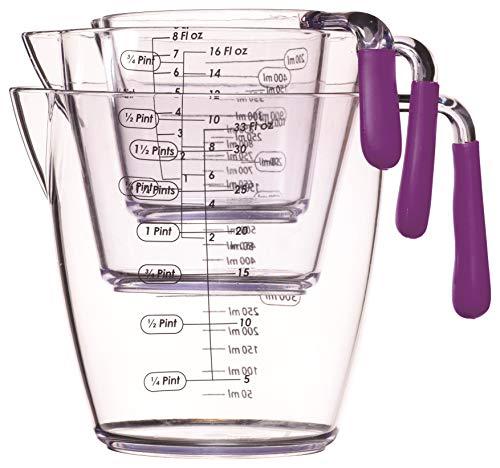 Colourworks Juego de 3 jarras medidoras de acrílico, 200, 400 y 900 ml, Color Morado