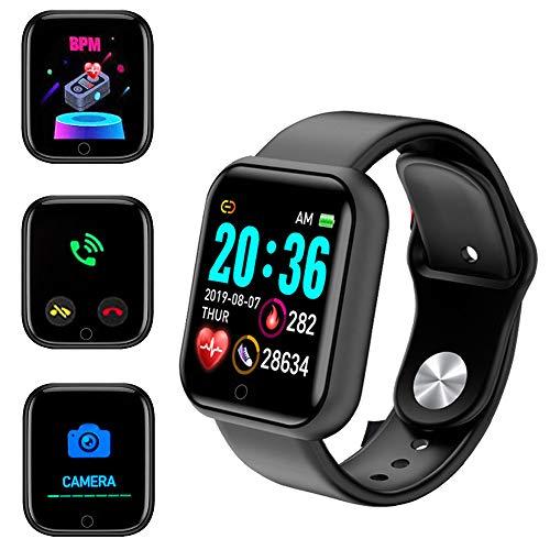 Smartwatch, Reloj inteligente a prueba de agua IP65, con monitor de frecuencia cardíaca, podómetro de calorías, pulsera de actividad inteligente, para Hombre Mujer niños con iPhone y Android