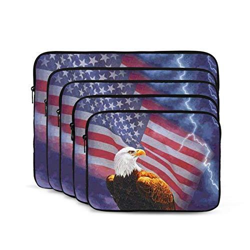 QUEMIN Portátil Que Lleva el Forro a Prueba de Golpes Bolsa Durabl Business Maletín Casual/Escuela/Hombres Mujeres Bandera Americana Eagle-17 Pulgadas
