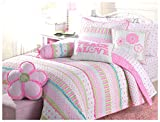 Cozy Line Home Fashions Pink Greta Pastel Polka Dot Flower 100% Cotton Reversible Quilt Bedding Set, Coverlet, Bedspreads (Full/Queen - 3 Piece: 1 Quilt + 2 Standard Shams)