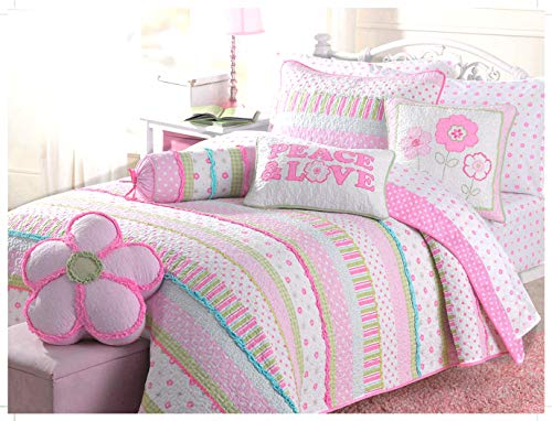 Cozy Line Home Fashions Pink Greta Pastel Polka Dot Flower 100% Cotton Reversible Quilt Bedding Set (Twin - 2 Piece)