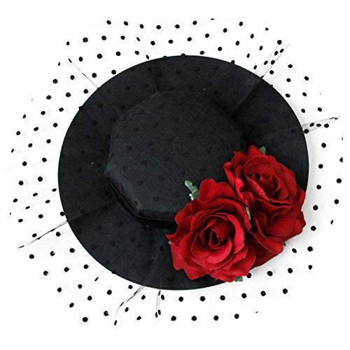 Toyvian Tocado gótico de malla para mujer, sombrero de flores, clip para...