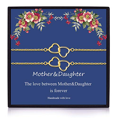 Back to School Gifts Mother Daughter Bracelet Set for 2 Heart mother bracelet Gift for Mom and Me Mother's Day Gift(Heart-MD-2G)