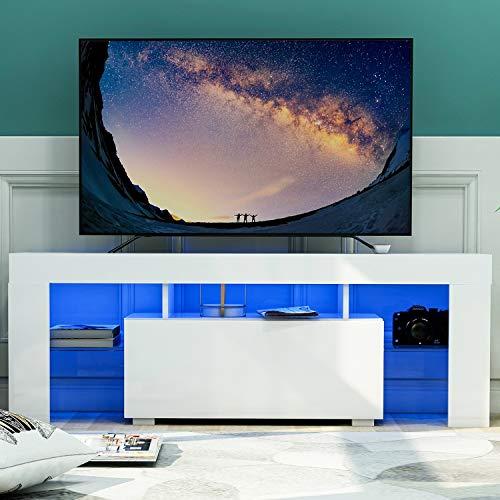 DADEA TV-Einheit mit 2 Schränken, TV Board Lowboard, Unterschrank, Sideboard Media Board, Fernsehschrank, inkl 16 Bunte LED-Leuchten