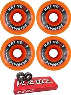 Seismic Skate Systems 76mm Hot Spot Transparent Orange/Red Skateboard Wheels - 77a with Bones Bearings - 8mm Bones Super Reds Skate Rated Skateboard Bearings (8) Pack - Bundle of 2 Items