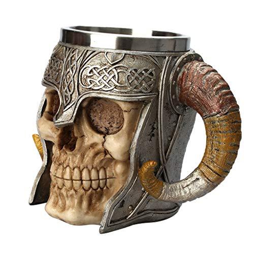 Sharplace Taza - Vikingo Cráneo con Cuernos, Diseño Creativo