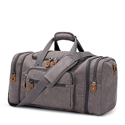 Plambag Canvas Duffle Bag for Travel 50L/60L Duffel Overnight Weekender Bag
