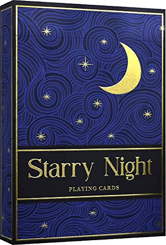 Starry Night Playing Cards, Elegant Hand-Drawn Midnight Designs and FREE Card Game eBook, Premium Deck of Cards with Metallic Gold Ink, Cool Poker Cards, Standard Size Playin Cards for Kids and Adults