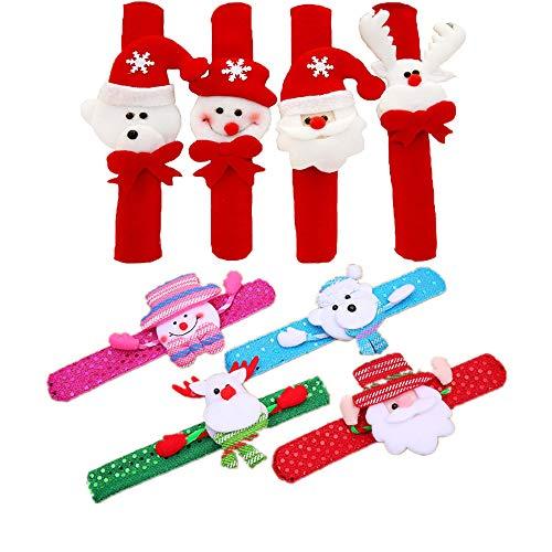 Shuny Pulsera Bofetada, 8 Piezas Pulseras de Juguete, Pulseras de palmada de Navidad, Slap Bracelets, Snap Pulsera, Banda de Pulsera, Regalo de Fiesta de cumpleaños