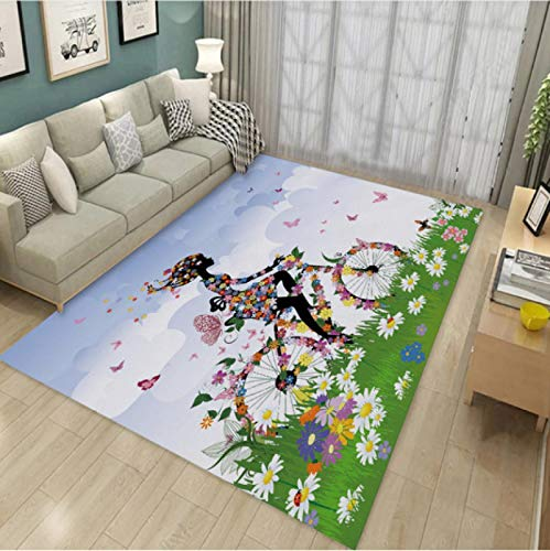 Woman Riding A Bicycle Printed Carpet Living Room Bedroom Non-Slip Carpet Coffee Table Sofa Area Exquisite Polyester Carpet60*90Cm