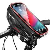 WILD MAN Bolsa Manillar Bici Impermeable Bolsa Tubo Bicicleta con Pantalla Táctil Bolsa Marco Bicicleta Funda Movil Bici para Teléfonos inteligentes de menos de 6.5', Rojo