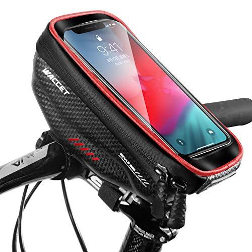 Bolsa Manillar Bici Impermeable Bolsa Tubo Bicicleta con Pantalla Táctil Bolsa Marco Bicicleta Funda Movil Bici para iPhone XS MAX/XR/X/8Plus Samsung S9/S8 hasta 6,5'' Smartphone, Rojo