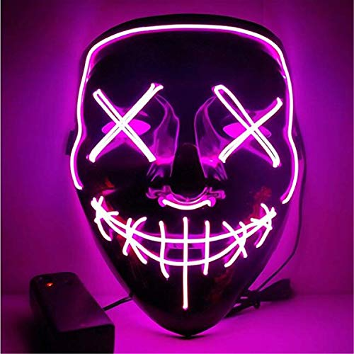Moonideal Halloween Light Up Mask EL Wire Scary Mask for Halloween Festival Party Sound Induction Twinkling with Music Speed Pink