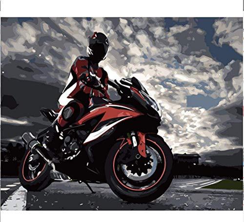 WCIAW Anfänger Digital Paint Oil Painting Kit Coole Motorrad Abstrakte Kunst Handgemalte Malvorlage Leinwand DIY Als Geschenk 16X20Inch
