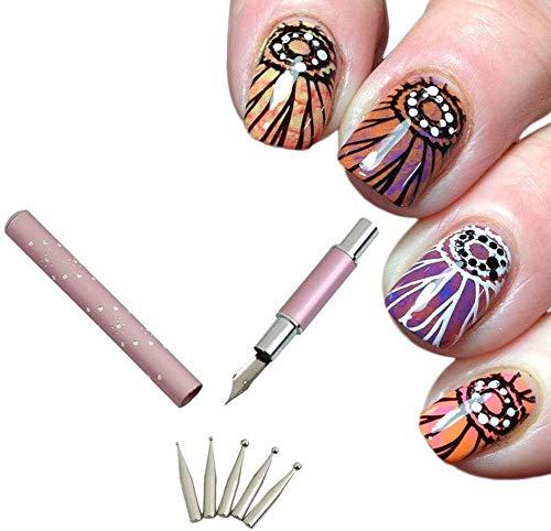 miscellaneous Call Calligraphy Pen DIY Nail Art Art Fine Lace Drawing Pen con 5 Puntos de Pluma de reemplazo de tamaño Diferente para Herramientas de Pintura de uñas de manicura