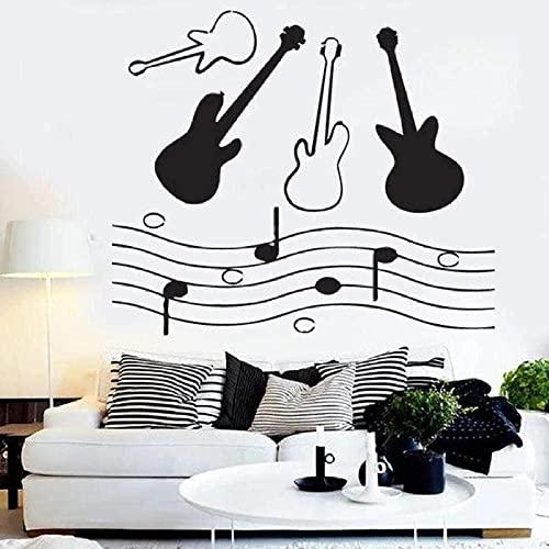 Notas de guitarra vinilo vinilo hoja de música pegatinas de ventana de sala musical guitarra estudio decoración interior dormitorio arte mural 42x36cm