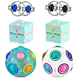 Skylety 6 Pieces Handheld Mini Fidget Toy Set Includes 2 Infinity Cube 2 Rainbow Ball 2 Key Flippy Chain, Magic Fidget Puzzle Toy Brain Teaser with 11 Rainbow Colors for Teens and Adults