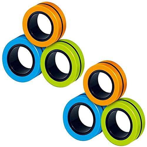 Spiritlele 6 Pcs Magnetic Ring Fidget Spinner Hand Spin ADHD Focus Anxiety Stress Relief Finger Game Toys (6 Pcs Orange Green Blue)