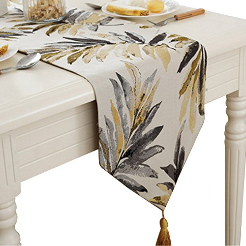 HUABEI Camino de mesa de Jacquard con hoja elegante para casa, café decorativo (32 x 160 cm)