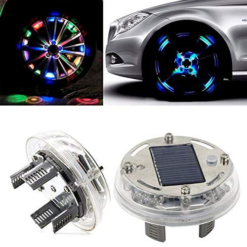 Solarenergie Auto Blinklicht, Auto LED 7 Farben Solar Energie Blinklicht/Reifen Felgenlampe/LED Ventilkappe Radbeleuchtung Licht/Felgenlicht Tunin Auto Felgen Beleuchtung