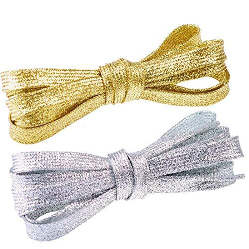 Flyingfish 2 Paare von Bling Glitter Schnürsenkel Flachsenkel 115CM Gold- + Silberfarbe