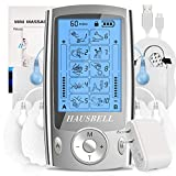 HAUSBELL Dual Channel TENS Unit Muscle Stimulator, 20 Modes Rechargeable TENS Machine with 6 Reusable Premium Electrode Pads for Pain Relief [Acupuncture Points Chart & Charger Included]-Silver