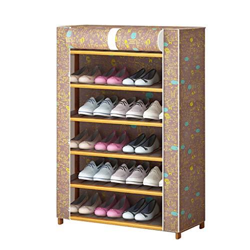 Shoe rack CWT 70 x 30 x 96 cm estante de almacenamiento de zapatos para el hogar, a prueba de polvo, tela Oxford de madera maciza (color: C)
