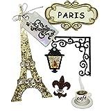 """Rayher 58442000 Deko-Sticker """"Paris"""" in 3D-Optik, mit Klebepunkt, 5 Motive aus speziellen..."""