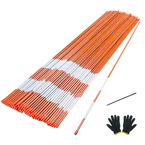 Sunnyglade 100PCS 48 Inch Driveway Marker 5/16 Inch Dia Reflective Driveway Poles Fiberglass Snow Stakes with Reflective Tape for Easy Visibility at Night