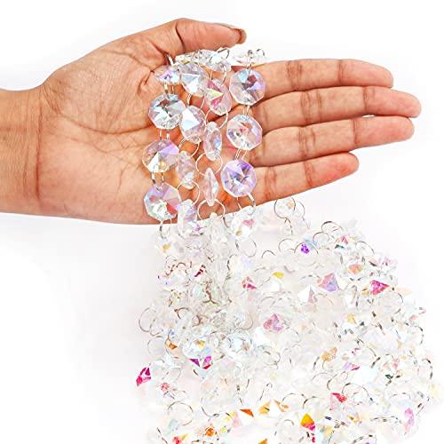 Belle Vous Schillernde Glassteine Deko Kristall Kette Prisma Glas (6er Pack) - 1m Kristall Ketten mit 1,5cm Achteck-Perlen - für DIY-Basteln, Hochzeit/Weihnachten/Party-Dekorationen, Schmuck & Lampen
