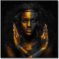 ポスターアートワーク50x50cmフレームなしモダンプリント黒人女性アフリカ絵画壁アートジクレーキャンバス絵画リビングルームの装飾